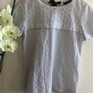 J Crew, size 4, Blue embroidered circle print top